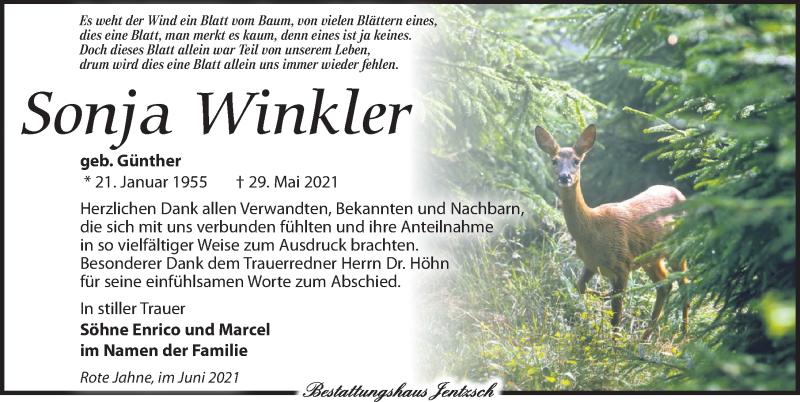 Traueranzeige für Sonja Winkler vom 19.06.2021 aus Leipziger Volkszeitung
