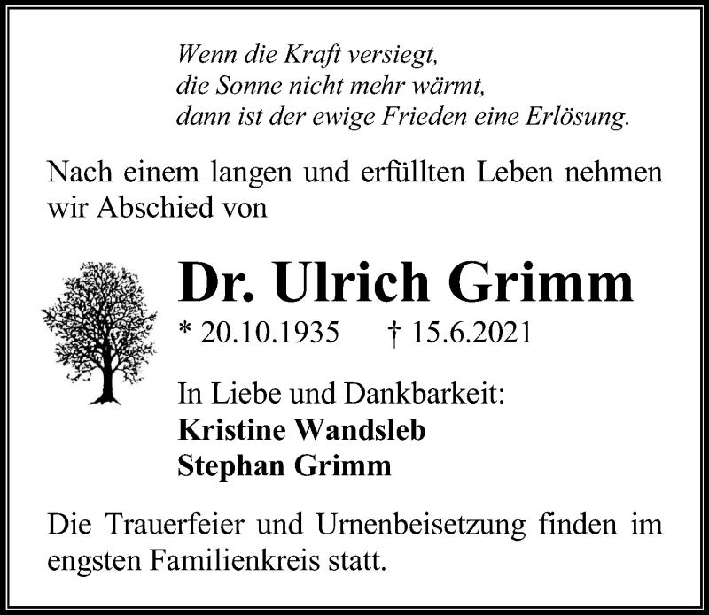 Traueranzeige für Ulrich Grimm vom 19.06.2021 aus Ostsee-Zeitung GmbH