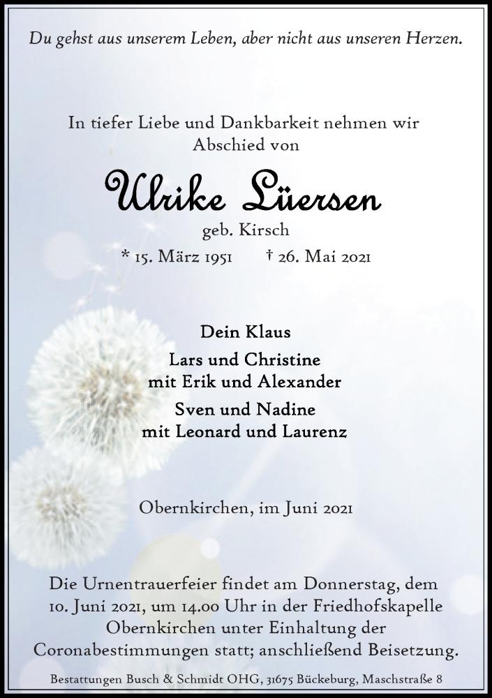 Traueranzeige für Ulrike Lüersen vom 05.06.2021 aus Schaumburger Nachrichten