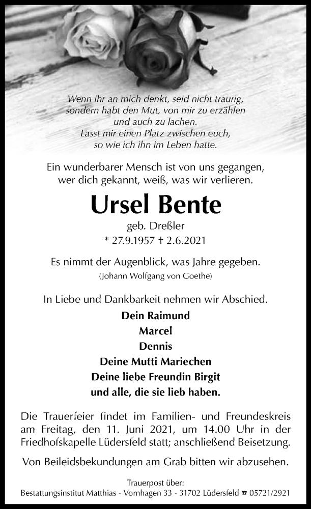 Traueranzeige für Ursel Bente vom 05.06.2021 aus Schaumburger Nachrichten