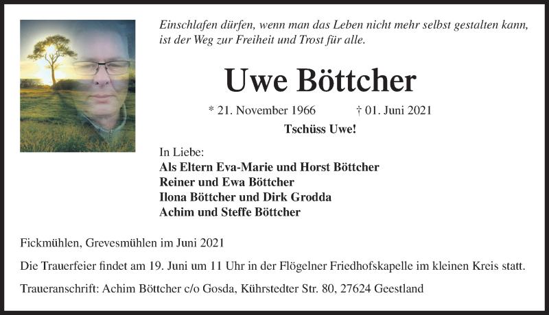 Traueranzeige für Uwe Böttcher vom 11.06.2021 aus Ostsee-Zeitung GmbH