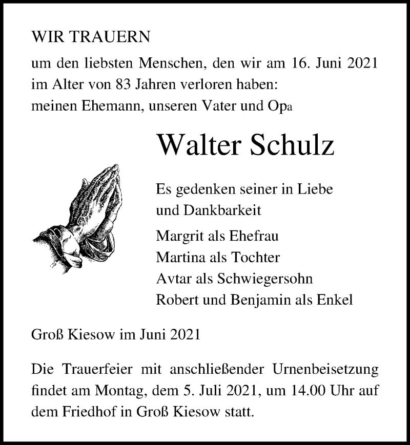 Traueranzeige für Walter Schulz vom 19.06.2021 aus Ostsee-Zeitung GmbH