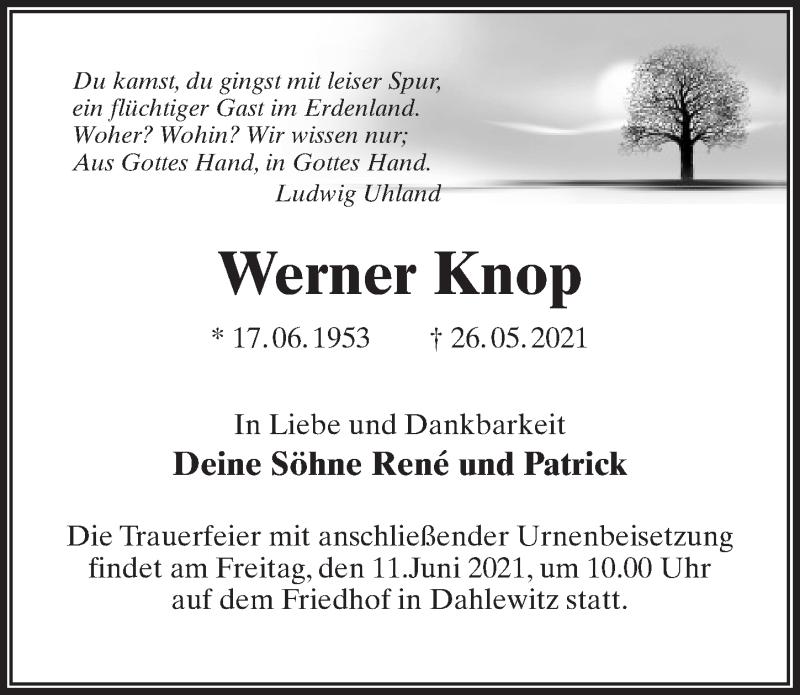 Traueranzeige für Werner Knop vom 11.06.2021 aus Märkischen Allgemeine Zeitung