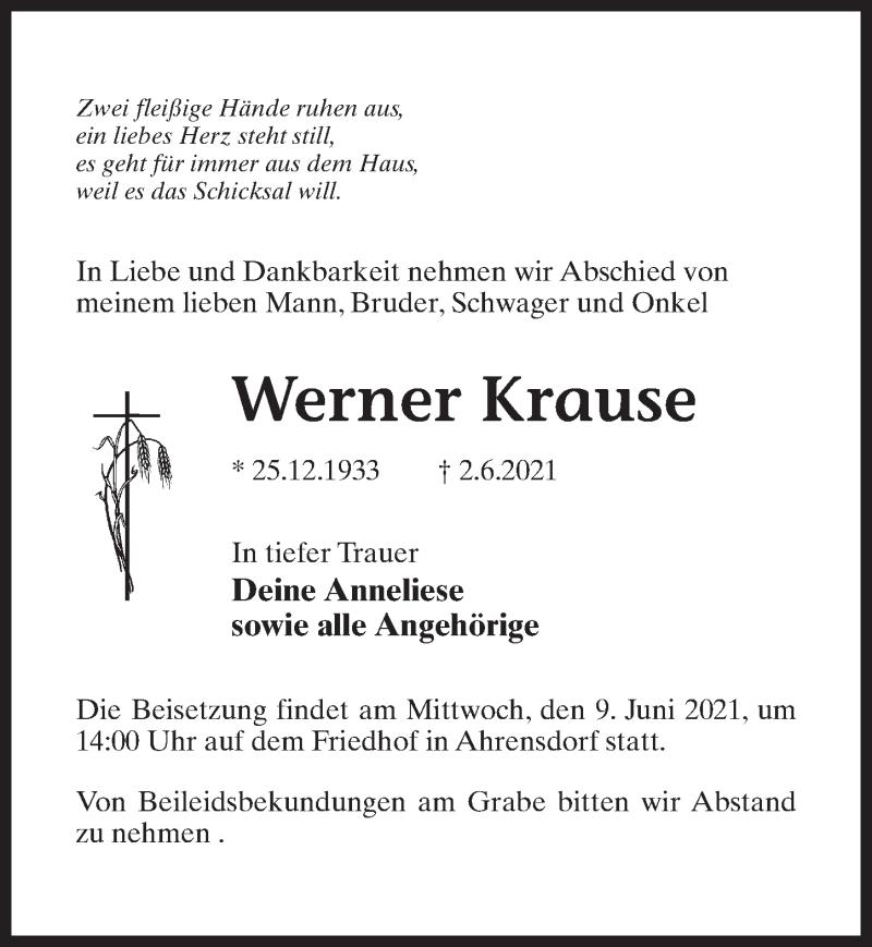 Traueranzeige für Werner Krause vom 05.06.2021 aus Märkischen Allgemeine Zeitung