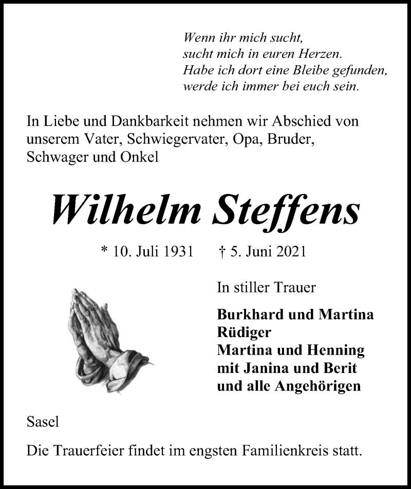 Traueranzeige für Wilhelm Steffens vom 09.06.2021 aus Kieler Nachrichten