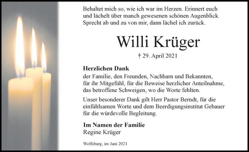 Traueranzeige für Willi Krüger vom 12.06.2021 aus Aller Zeitung
