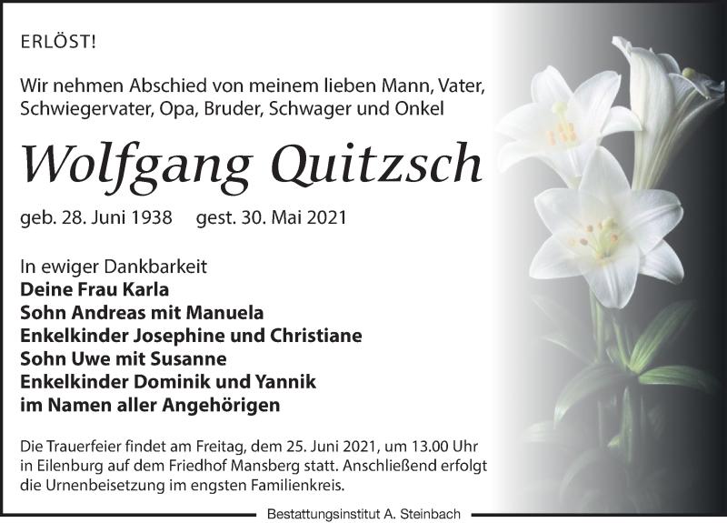 Traueranzeige für Wolfgang Quitzsch vom 05.06.2021 aus Leipziger Volkszeitung