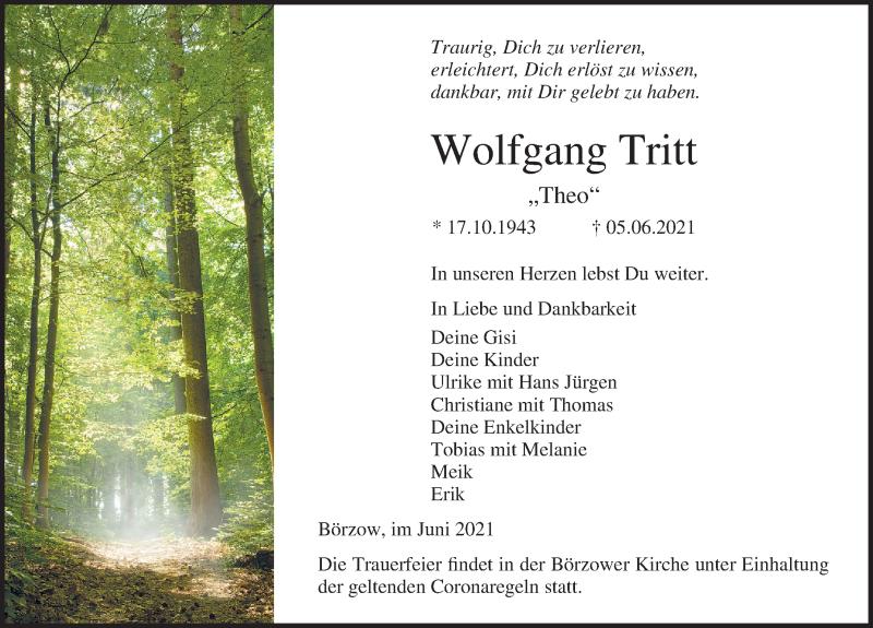 Traueranzeige für Wolfgang Tritt vom 09.06.2021 aus Ostsee-Zeitung GmbH
