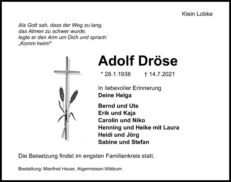 Traueranzeige für Adolf Dröse vom 17.07.2021 aus Hannoversche Allgemeine Zeitung/Neue Presse