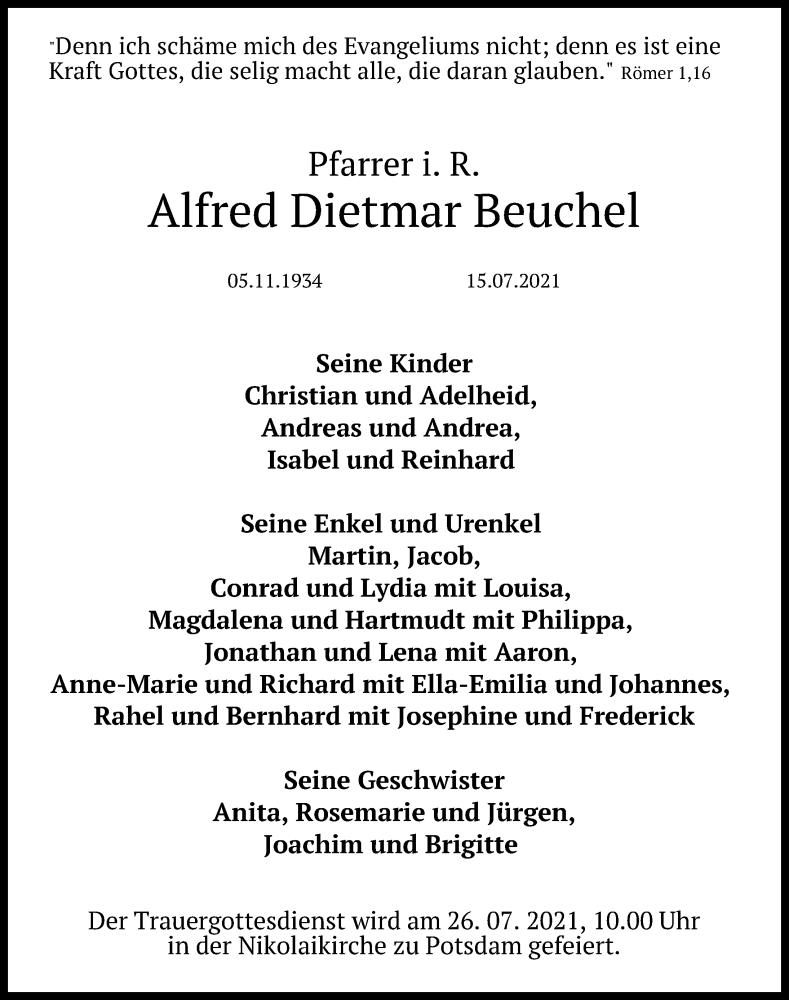 Traueranzeige für Alfred Dietmar Beuchel vom 22.07.2021 aus Märkischen Allgemeine Zeitung