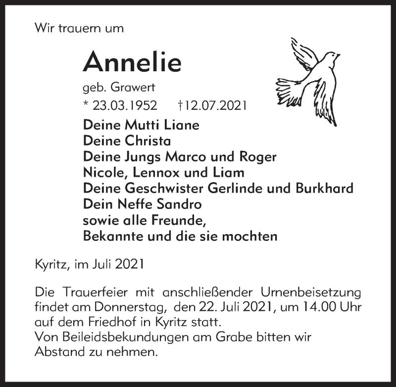 Traueranzeige für Annelie  vom 17.07.2021 aus Märkischen Allgemeine Zeitung