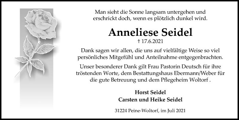 Traueranzeige für Anneliese Seidel vom 17.07.2021 aus Peiner Allgemeine Zeitung
