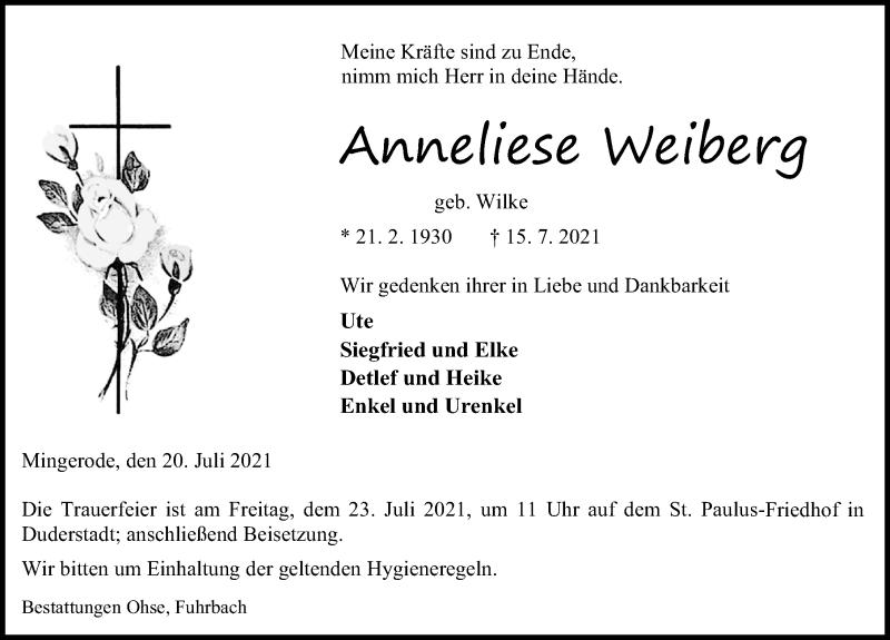Traueranzeige für Anneliese Weiberg vom 20.07.2021 aus Eichsfelder Tageblatt