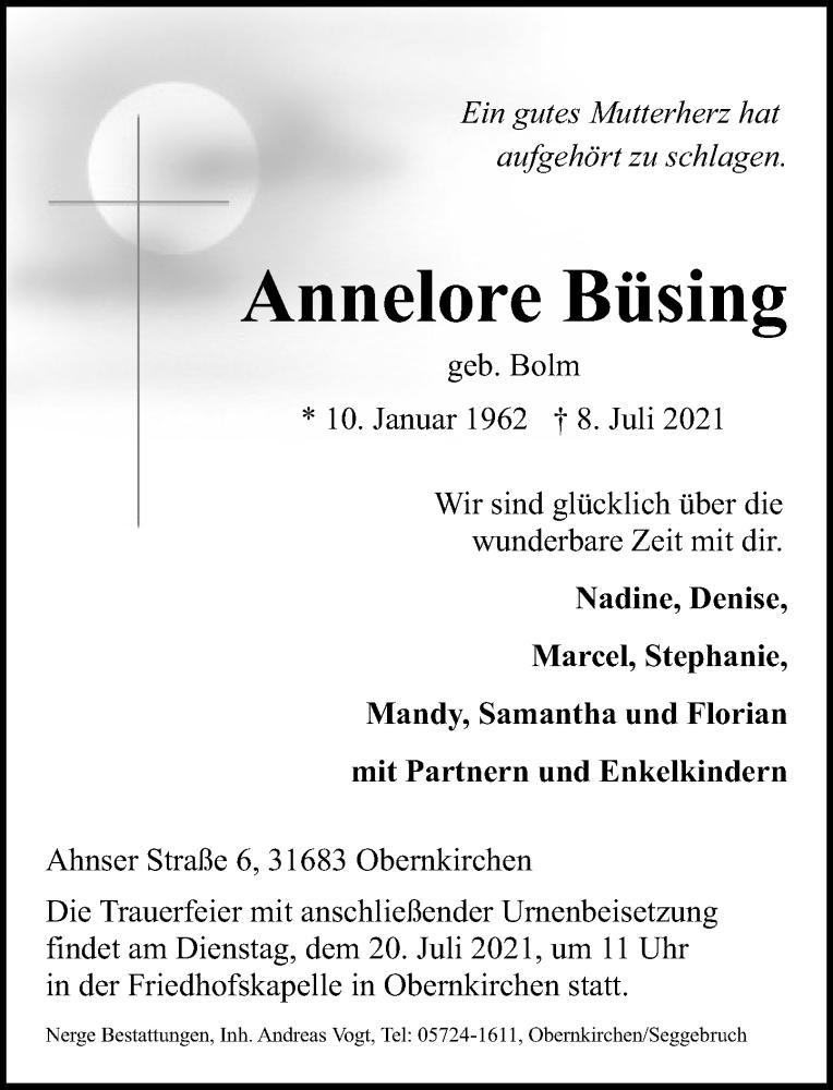 Traueranzeige für Annelore Büsing vom 17.07.2021 aus Schaumburger Nachrichten