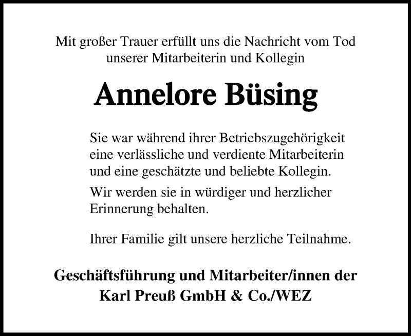 Traueranzeige für Annelore Büsing vom 24.07.2021 aus Schaumburger Nachrichten