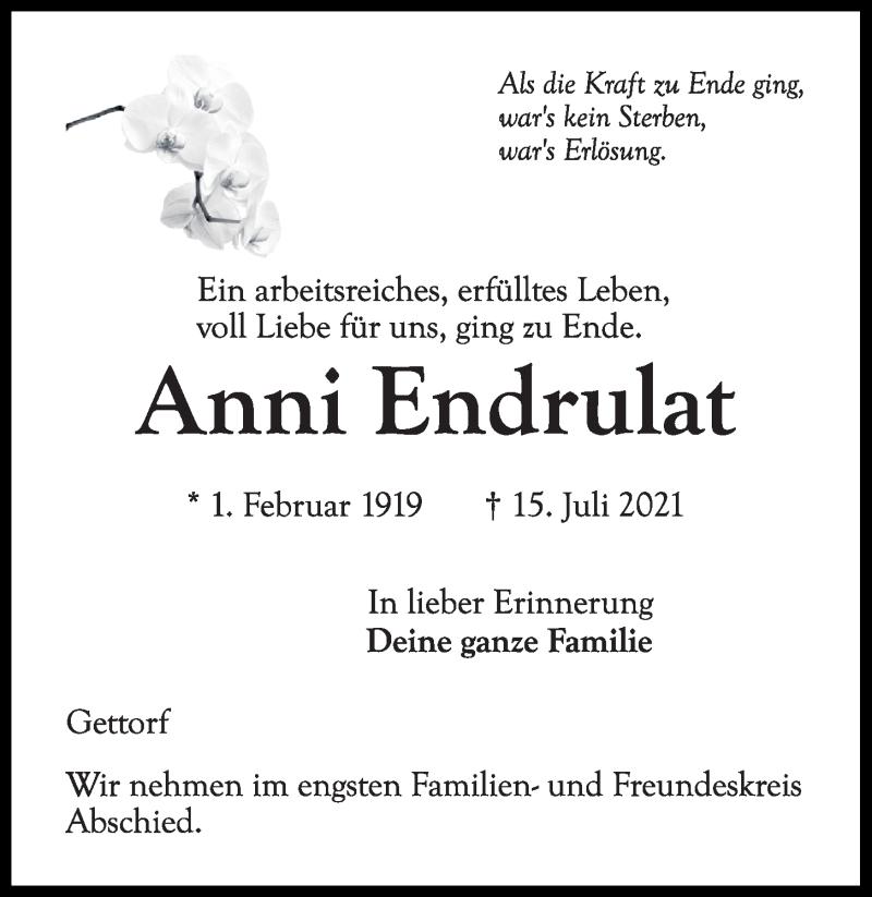 Traueranzeige für Anni Endrulat vom 20.07.2021 aus Kieler Nachrichten