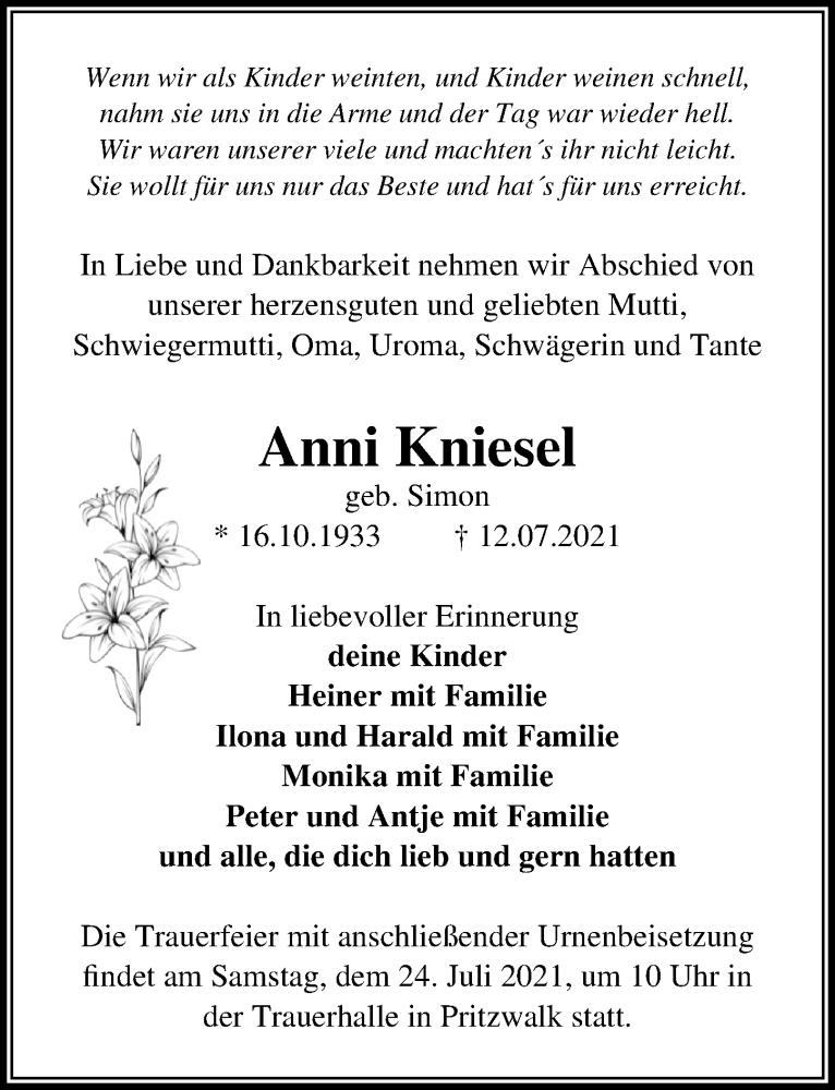 Traueranzeige für Anni Kniesel vom 17.07.2021 aus Märkischen Allgemeine Zeitung