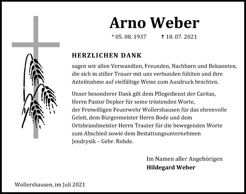 Traueranzeige für Arno Weber vom 31.07.2021 aus Eichsfelder Tageblatt