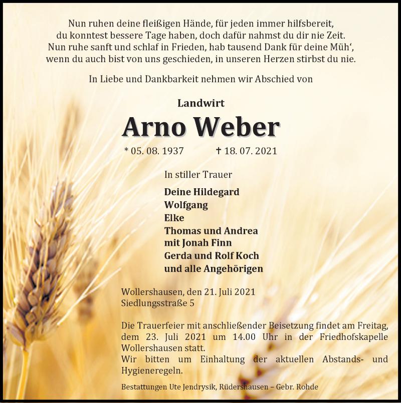 Traueranzeige für Arno Weber vom 21.07.2021 aus Eichsfelder Tageblatt