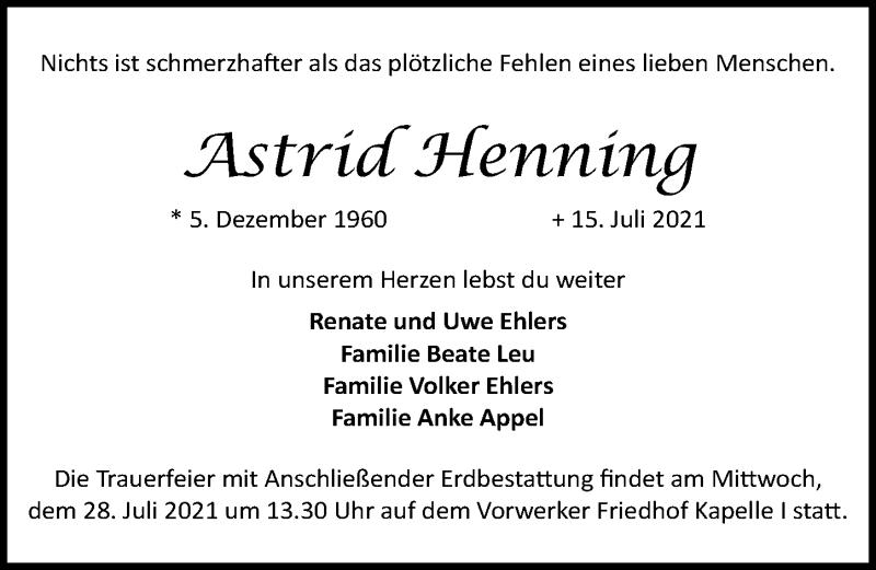 Traueranzeige von  Astrid Henning