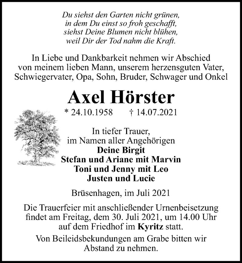 Traueranzeige für Axel Hörster vom 22.07.2021 aus Märkischen Allgemeine Zeitung