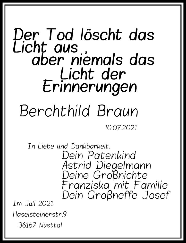 Traueranzeige für Berchthild Braun vom 24.07.2021 aus Göttinger Tageblatt