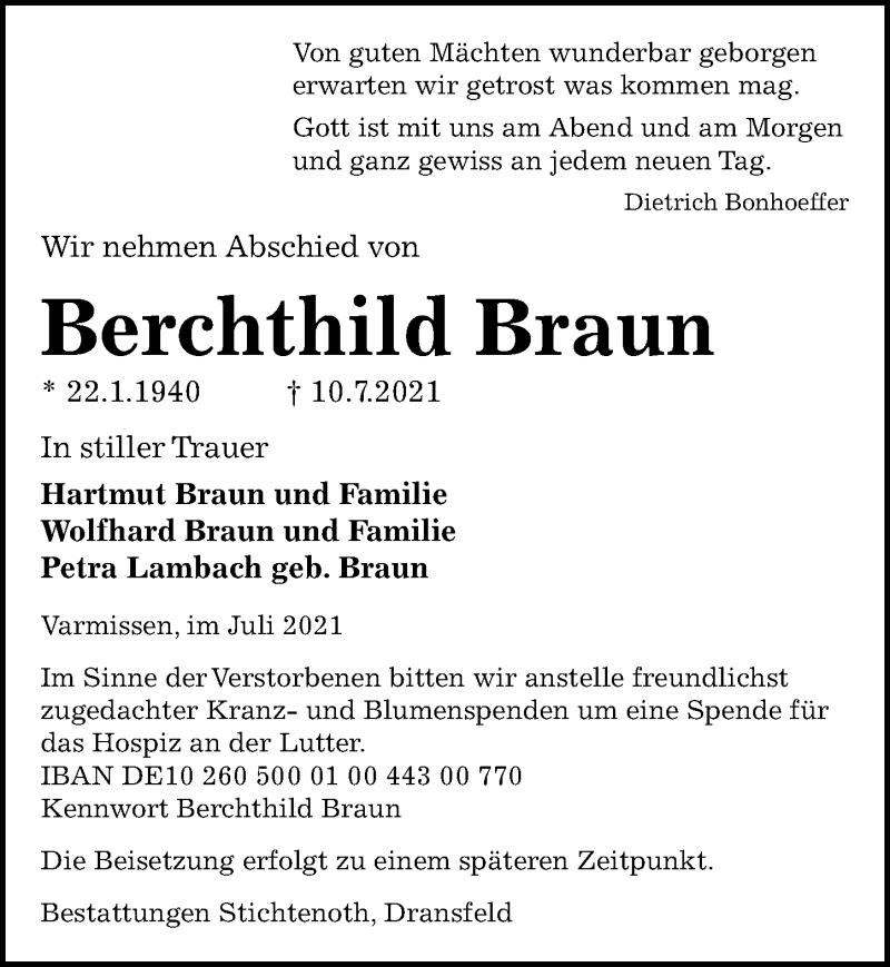 Traueranzeige für Berchthild Braun vom 17.07.2021 aus Göttinger Tageblatt