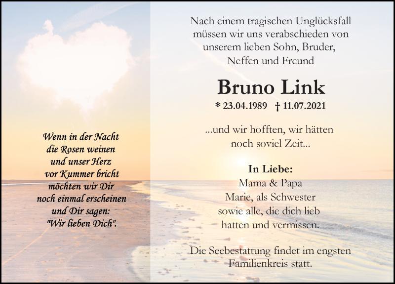 Traueranzeige für Bruno Link vom 17.07.2021 aus Ostsee-Zeitung GmbH