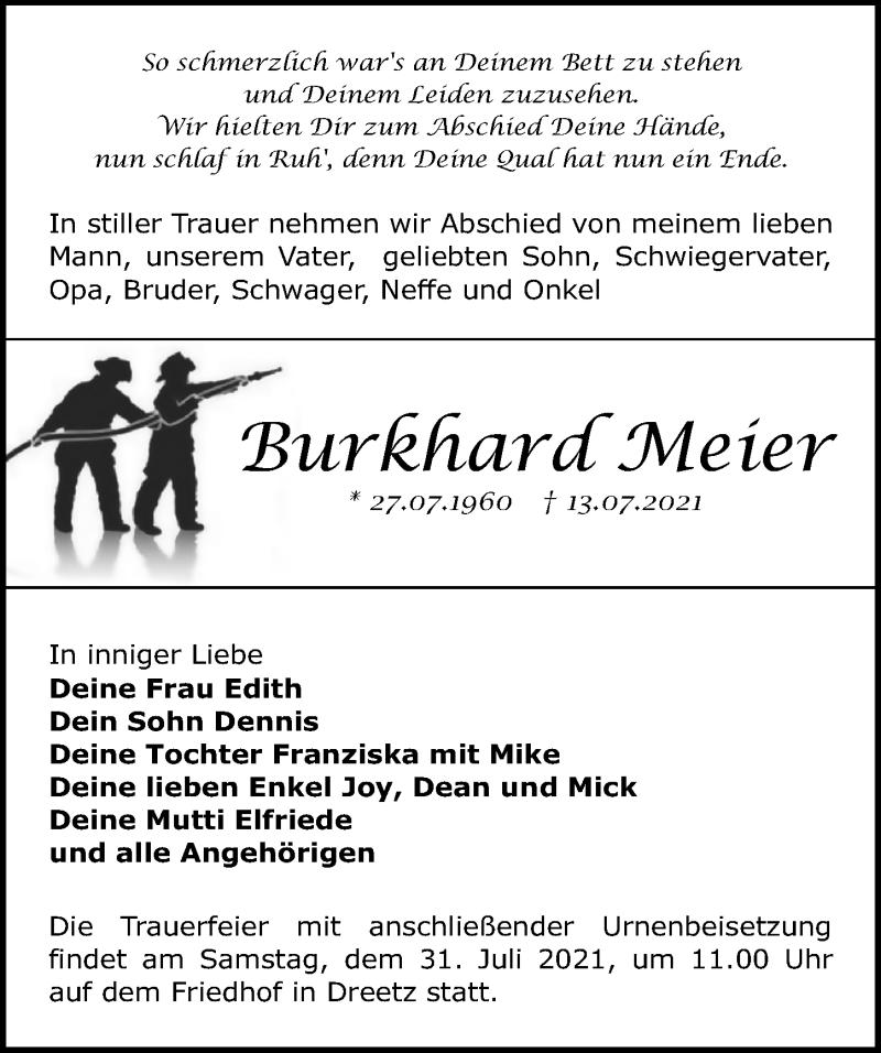 Traueranzeige für Burkhard Meier vom 17.07.2021 aus Märkischen Allgemeine Zeitung