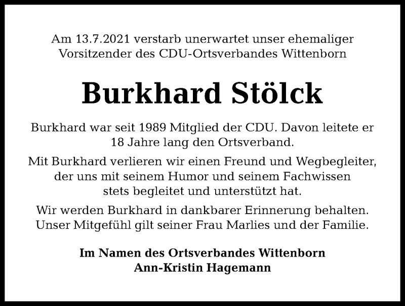 Traueranzeige für Burkhard Stölck vom 17.07.2021 aus Kieler Nachrichten