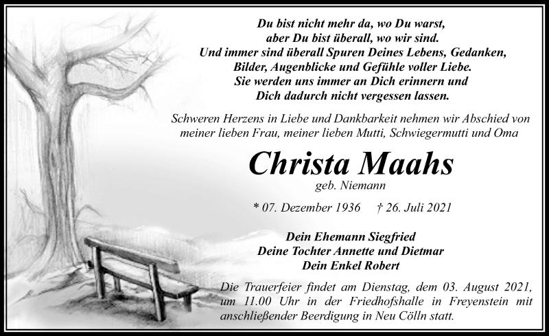 Traueranzeige für Christa Maahs vom 29.07.2021 aus Märkischen Allgemeine Zeitung