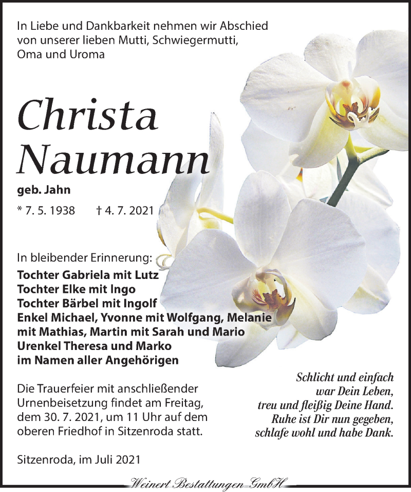 Traueranzeige für Christa Naumann vom 10.07.2021 aus Torgauer Zeitung