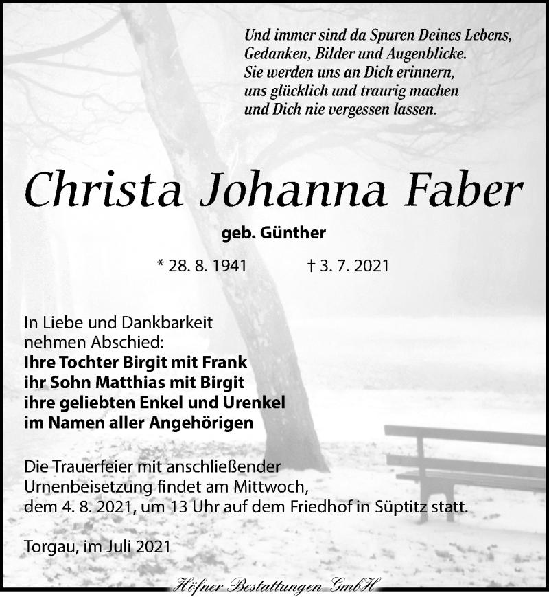 Traueranzeige für Christa Johanna Faber vom 17.07.2021 aus Torgauer Zeitung