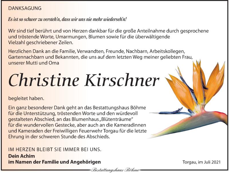 Traueranzeige für Christine Kirschner vom 24.07.2021 aus Torgauer Zeitung