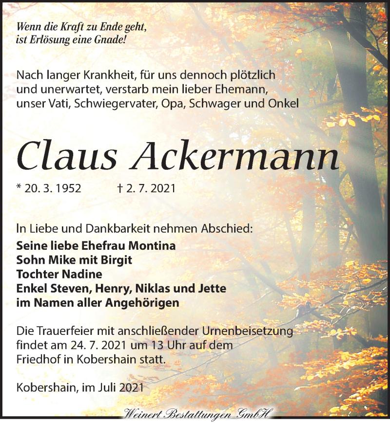 Traueranzeige für Claus Ackermann vom 10.07.2021 aus Torgauer Zeitung