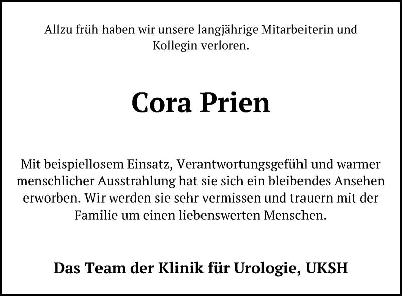 Traueranzeige für Cora Prien vom 24.07.2021 aus Kieler Nachrichten