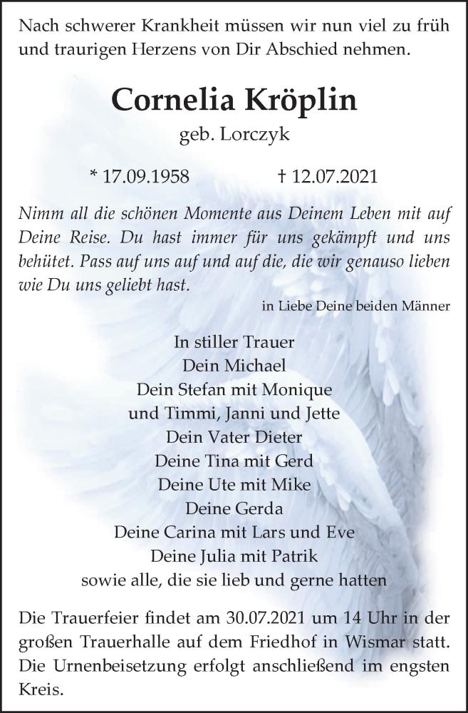 Traueranzeige für Cornelia Kröplin vom 17.07.2021 aus Ostsee-Zeitung GmbH