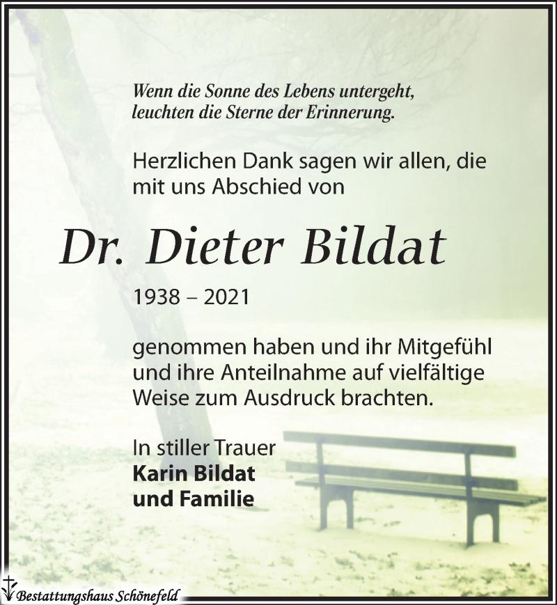 Traueranzeige für Dieter Bildat vom 03.07.2021 aus Leipziger Volkszeitung