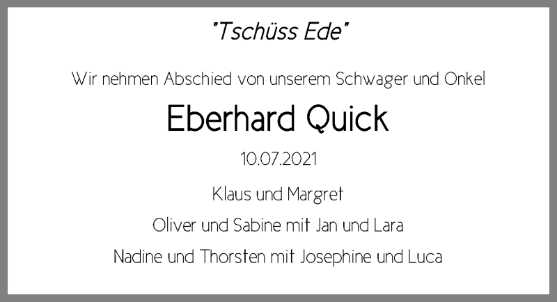 Traueranzeige für Eberhard Quick vom 18.07.2021 aus Lübecker Nachrichten