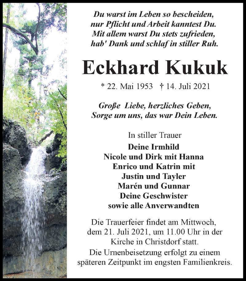 Traueranzeige für Eckhard Kukuk vom 17.07.2021 aus Märkischen Allgemeine Zeitung