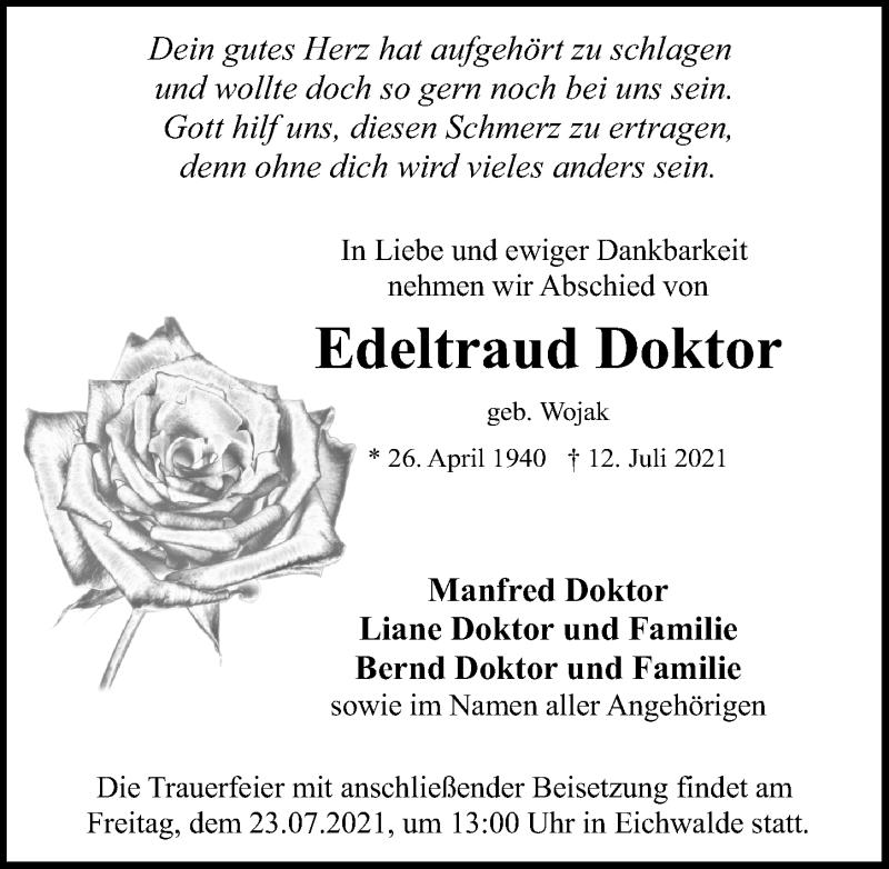 Traueranzeige für Edeltraud Doktor vom 20.07.2021 aus Märkischen Allgemeine Zeitung