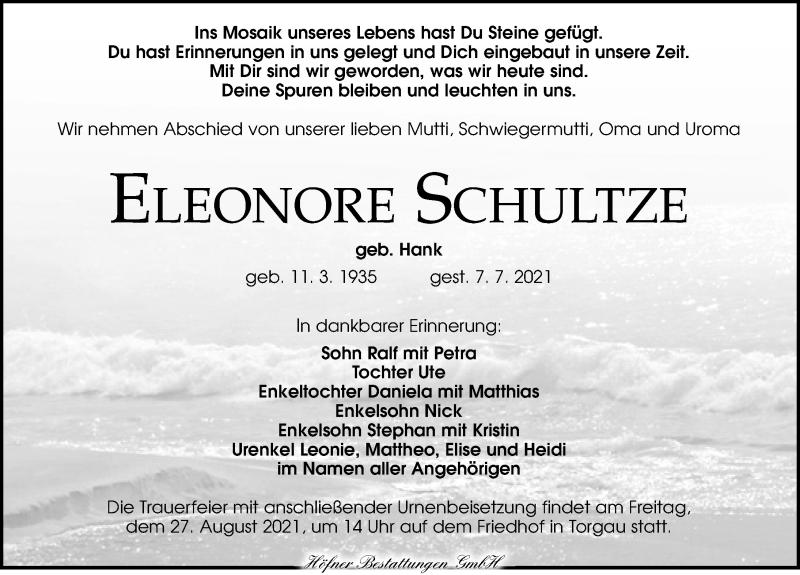Traueranzeige für Eleonore Schultze vom 17.07.2021 aus Torgauer Zeitung