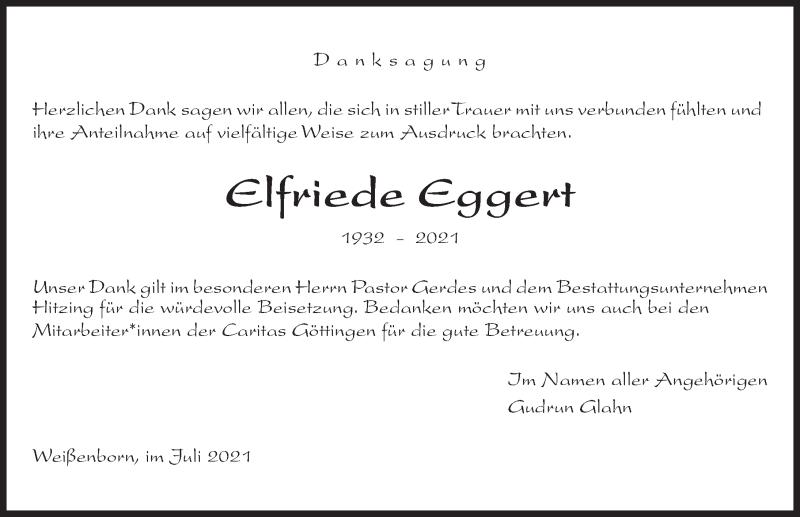 Traueranzeige für Elfriede Eggert vom 31.07.2021 aus Göttinger Tageblatt