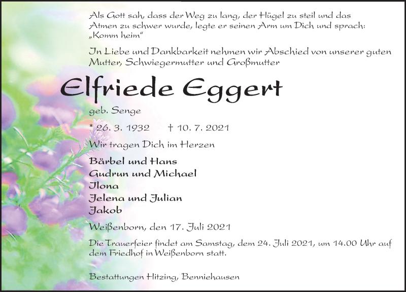 Traueranzeige für Elfriede Eggert vom 17.07.2021 aus Göttinger Tageblatt