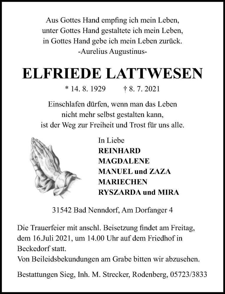 Traueranzeige für Elfriede Lattwesen vom 13.07.2021 aus Schaumburger Nachrichten