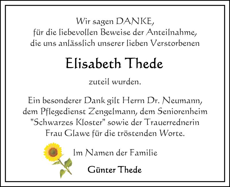 Traueranzeige für Elisabeth Thede vom 31.07.2021 aus Ostsee-Zeitung GmbH