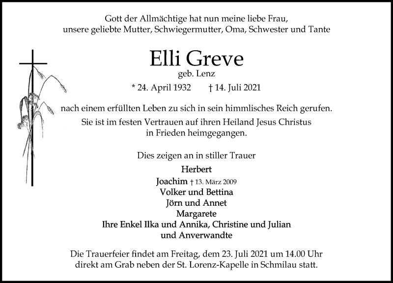 Traueranzeige für Elli Greve vom 20.07.2021 aus Lübecker Nachrichten