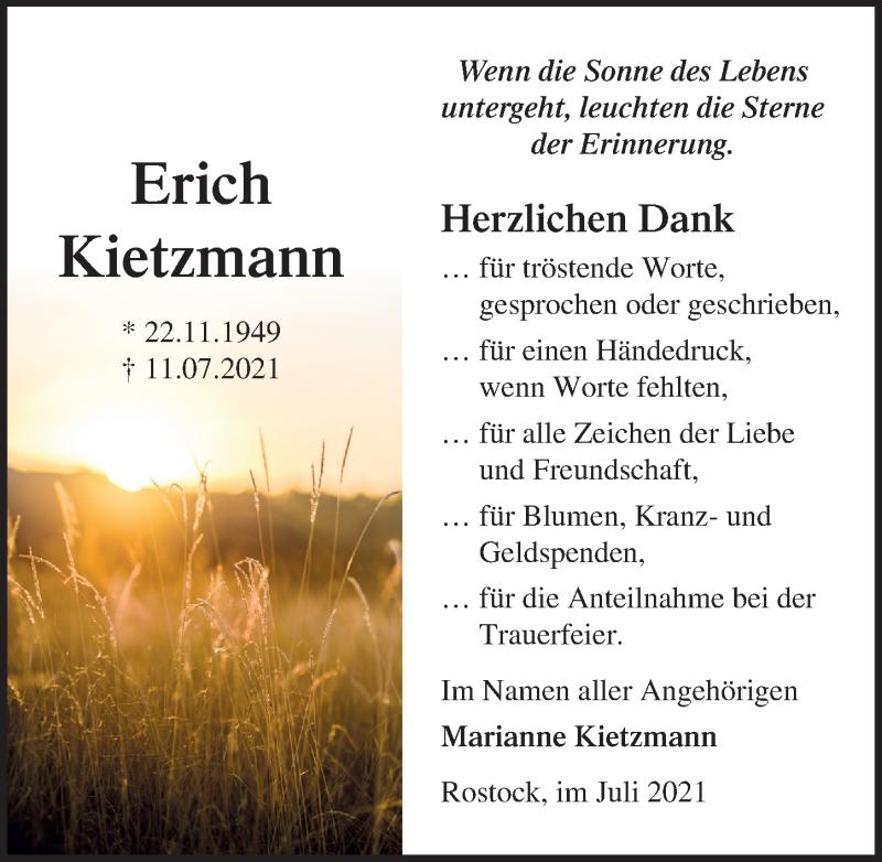 Traueranzeige für Erich Kietzmann vom 31.07.2021 aus Ostsee-Zeitung GmbH