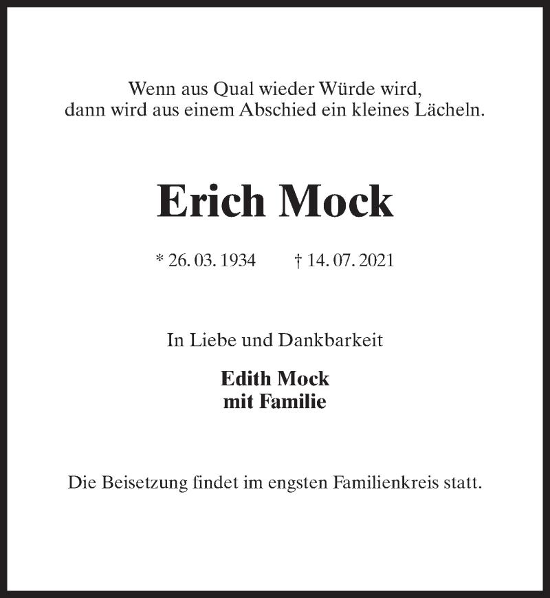 Traueranzeige für Erich Mock vom 17.07.2021 aus Märkischen Allgemeine Zeitung
