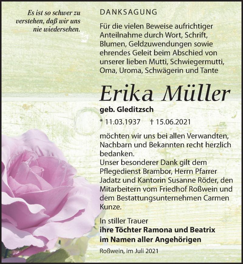Traueranzeige für Erika Müller vom 10.07.2021 aus Leipziger Volkszeitung
